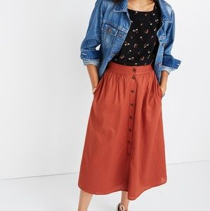 Madewell Button Skirt - Burnt Red - Size 2